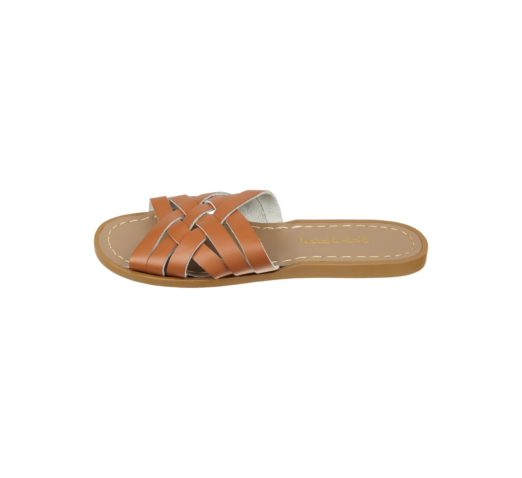 Retro Slide Sawo Matang / Perang Kulit - Salt Water Sandals